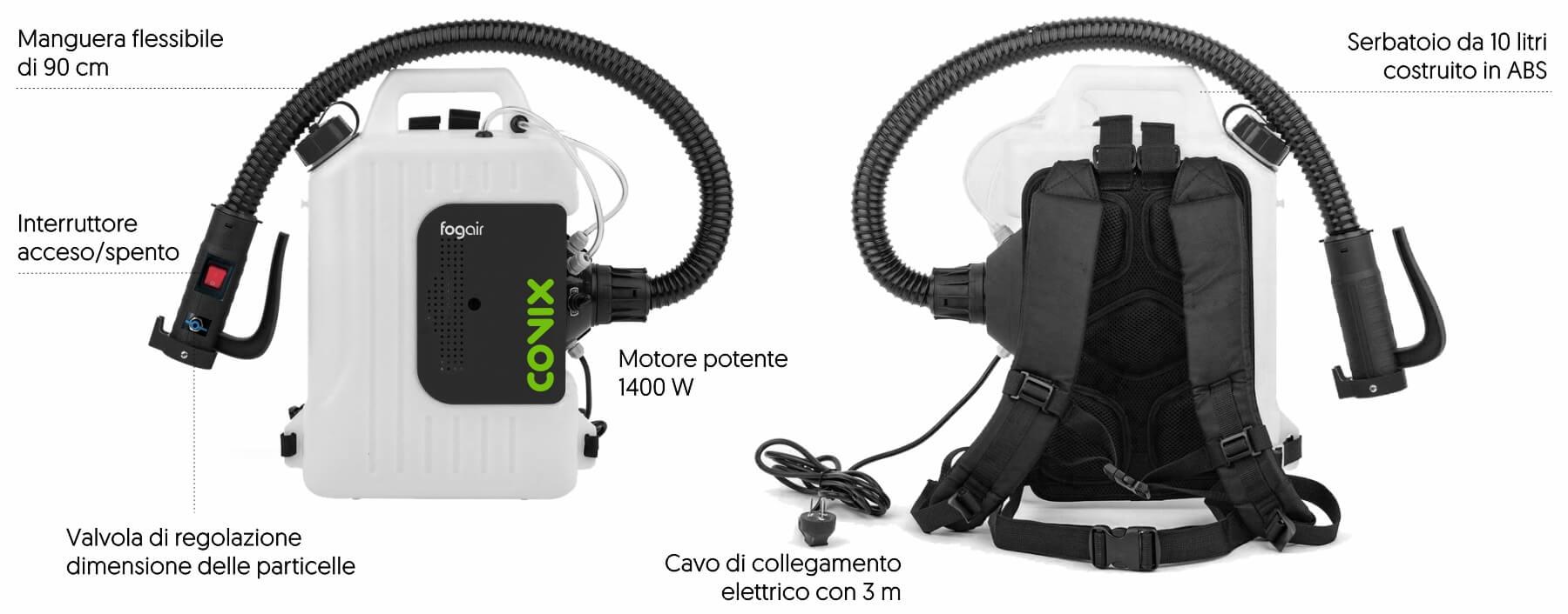 Nebulizzatore per la disinfezione di aree e condotti di condizionamento dell'aria.